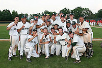 June 12, 2010:  Lindenhurst first baseman Jon McGibbon (7 - front row, far right kneeling) and his team celebrate defeating Guilderland during the NYSPHAA Class-AA State Championship game at Binghamton University in Binghamton, NY.  Lindenhurst defeated Guilderland by the score of 15-2.  McGibbon was seleced in the 29th round by the Seattle Mariners of the 2010 MLB draft but chose to attend Clemson University to play for the Bulldogs.  Photo By Mike Janes/Four Seam Images