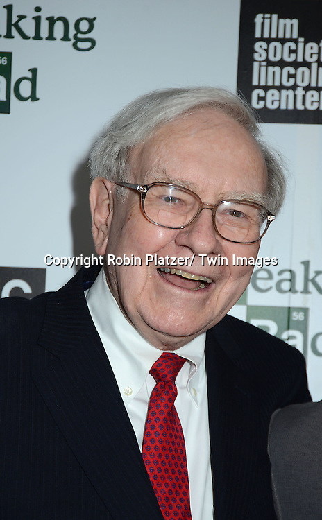 "Warren Buffett  attends the Film Society of Lincoln Center and AMC celebration of  the final episodes of  ""Breaking Bad"" at the Walter Reade Theatre in Lincoln Center  in New York City on July 31, 2013"