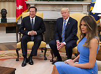 United States President Donald J. Trump meets with President Juan Carlos Varela of Panama in the Oval Office of the White House in Washington, DC on June 19, 2017. First lady Melania Trump is at right.<br /> Credit: Molly Riley / Pool via CNP /MediaPunch