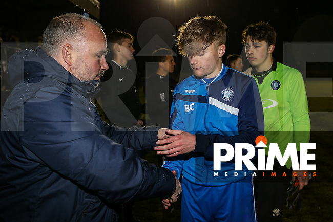 Match action from the Bedfordshire FA Under 16 Youth Challenge Cup Final between AFC Dunstable and Leighton Town Youth at Arlesey Town FC, England on 22 April 2016. Photo by David Horn/PRiME Media Images.
