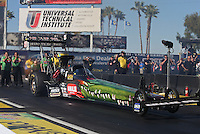 Feb. 22, 2013; Chandler, AZ, USA; NHRA top fuel dragster driver Terry McMillen during qualifying for the Arizona Nationals at Firebird International Raceway. Mandatory Credit: Mark J. Rebilas-