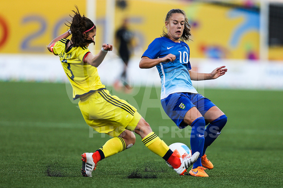 HAMILTON, CANADA, 25.07.2015 - PAN-FUTEBOL -Andressinha do Brasil durante partida contra a Colombia em partida da final do futebol feminino nos jogos Pan-americanos no Estadio Tim Hortons em Hamilton no Canadá neste sábado, 25.  (Foto: William Volcov/Brazil Photo Press)