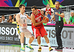 07.09.2014. Barcelona, Spain. 2014 FIBA Basketball World Cup, round of 8. Picture show  E. Arslan and A. Juskevicius in action during game between Lithuania v Turkey at Palau St. Jordi.