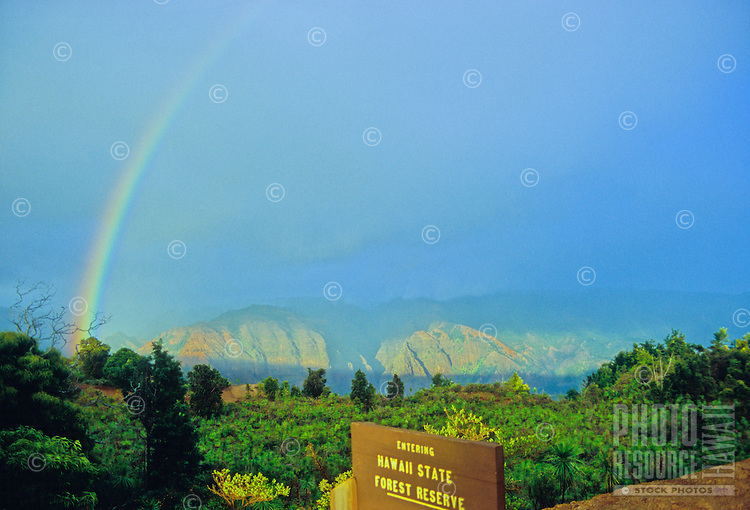 Rainbow over Waimea Canyon as seen from the Iliau Nature Loop