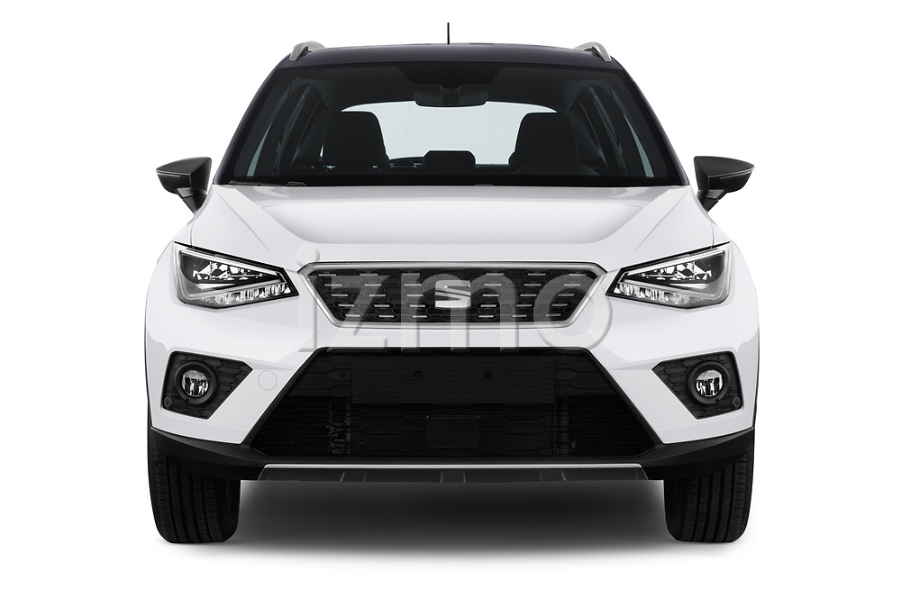 Car photography straight front view of a 2018 Seat Arona Xcellence 5 Door SUV