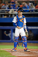 Florida Gators catcher JJ Schwarz (22) during a game against the Siena Saints on February 16, 2018 at Alfred A. McKethan Stadium in Gainesville, Florida.  Florida defeated Siena 7-1.  (Mike Janes/Four Seam Images)