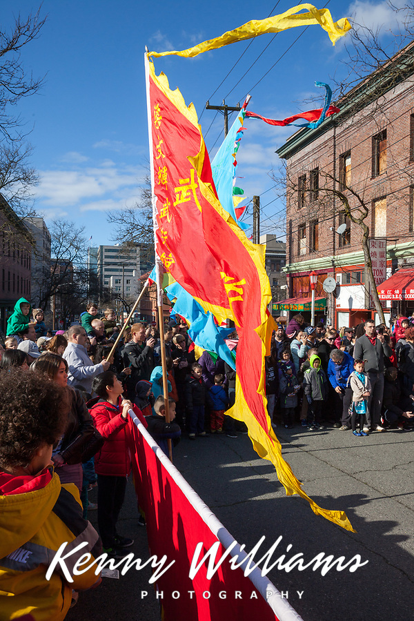 Chinese Flags, Lunar New Year, Chinatown, Seattle, WA, USA.