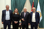 Palestinian President Mahmoud Abbas, meets with fighter Fadwa Barghouti, in the West Bank city of Ramallah, on December 30, 2019. Photo by Thaer Ganaim