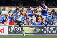 (L-R) Wayne Routledge of Swansea City gets a cross past Alan Judge of Ipswich Town during the Sky Bet Championship match between Ipswich Town an Swansea City at Portman Road Stadium, Ipswich, England, UK. Monday 22 April 2019