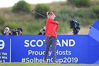 Lexi Thompson of Team USA on the 9th tee during Day 1 Fourball at the Solheim Cup 2019, Gleneagles Golf CLub, Auchterarder, Perthshire, Scotland. 13/09/2019.<br /> Picture Thos Caffrey / Golffile.ie<br /> <br /> All photo usage must carry mandatory copyright credit (© Golffile | Thos Caffrey)