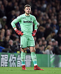 Stoke City goalkeeper Jack Butland during the premier league match at Stamford Bridge Stadium, London. Picture date 30th December 2017. Picture credit should read: Robin Parker/Sportimage