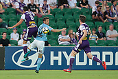 9th January 2018, nib Stadium, Perth, Australia; A League football, Perth Glory versus Melbourne City; Xavi Torres of the Perth Glory competes for the header with Dario Vidosic of Melbourne City