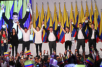 BOGOTA -COLOMBIA. 15-06-2014. El presidente-candidato Juan Manuel Santos por La Unidad Nacional  celebra en la sede de su campaña la victoria al sacar la mayor votacion en el pais y ser reelegido como  presidente de Colombia para el periodo 2014-2018. / President Juan Manuel Santos, candidate for the National Unity held at the headquarters of his campaign to win poll shows most in the country and be re-elected as president of Colombia for the period 2014-2018..   / The president-candidate Juan Manuel Santos held at the headquarters of his campaign to win poll shows most in the country and be elected as the new president of Colombia for the 2014-2018 perioda. Photo: VizzorImage/ Felipe Caicedo / Staff