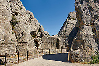 13th century BC Hittite religious rock carvings of Yazılıkaya Hittite rock sanctuary, chamber A,  Hattusa, Bogazale, Turkey.