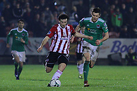 Barry McNamee, Derry City with Garry Buckley, Cork City.<br /> <br /> Cork City v Derry City / SSE Airtricity Premier Division / 1.3.19 /  Turner's Cross, Cork / <br /> <br /> Copyright Steve Alfred/photos.extratime.ie/pitchsidephoto.com 2019