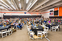 The Occidental College Human Resources Department hosts Employee Recognition Day on Thursday, May 23, 2019 in Rush Gym. Distinguished service awards were presented for service and excellence, in addition to annual recognition for yearly milestones.<br /> <br /> (Photo by Don Milici, Freelance)