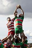 Dan Hyatt takes lineout ball for Waiuku. Counties Manukau Premier Club Rugby game between Karaka and Waiuku, played at Karaka Sports Park on Saturday June 9th 2018. Karaka won the game 22 - 18 after trailing 5 - 13 at halftime.  Photo by Richard Spranger.