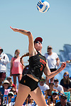 GULF SHORES, AL - MAY 07: Kelly Claes (3) of the University of Southern California hits the ball  during the Division I Women's Beach Volleyball Championship held at Gulf Place on May 7, 2017 in Gulf Shores, Alabama.The University of Southern California defeated Pepperdine 3-2 to claim the national championship. (Photo by Stephen Nowland/NCAA Photos via Getty Images)