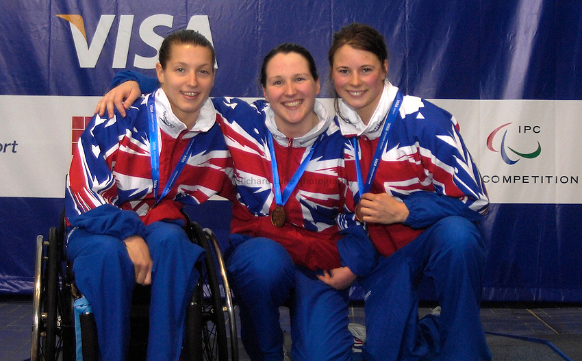 Photo: Richard Lane Photography..VISA Paralympic World Cup 2007. Swimming. 12/05/2007...Womens SM6 200m IM, (L-R) Nyree Lewis, Natalie Jones and Elizabeth Johnson of Great Britain.