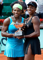 Serena & Venus Williams (USA) (1) against Kveta Peschke CZE (12) & .Katarina Srebotnik SLO (12) in the final of the women's doubles. Williams & Williams beat Peschke & Srebotnik 6-2 6-3..Tennis - French Open - Day 13 - Fri 04 Jun 2010 - Roland Garros - Paris - France..© FREY - AMN Images, 1st Floor, Barry House, 20-22 Worple Road, London. SW19 4DH - Tel: +44 (0) 208 947 0117 - contact@advantagemedianet.com - www.photoshelter.com/c/amnimages