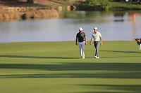 Thorbjorn Olesen (DEN) and Rory McIlroy (NIR) on the 18th fairway during the 1st round of the DP World Tour Championship, Jumeirah Golf Estates, Dubai, United Arab Emirates. 15/11/2018<br /> Picture: Golffile | Fran Caffrey<br /> <br /> <br /> All photo usage must carry mandatory copyright credit (© Golffile | Fran Caffrey)
