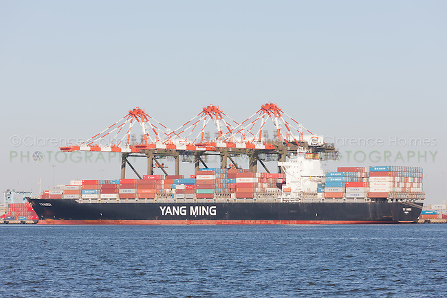 The Y M March is loaded at the Maher Terminals container terminal facility in the Port Newark-Elizabeth Marine Terminal in Newark Bay.