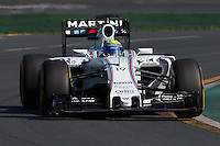 March 15, 2015: Felipe Massa (BRA) #19 from the Williams Martini Racing team rounds turn 2 during the 2015 Australian Formula One Grand Prix at Albert Park, Melbourne, Australia. Photo Sydney Low