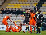 11.05.2018 Livingston v Dundee Utd:  Lee Miller booked afdter he elbows Bilel Mohsni
