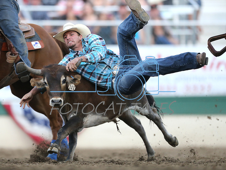 Garrett Smith competes in the steer wrestling event at the Reno Rodeo in Reno, Nev. on Friday, June 19, 2015.<br /> Photo by Cathleen Allison/Nevada Photo Source