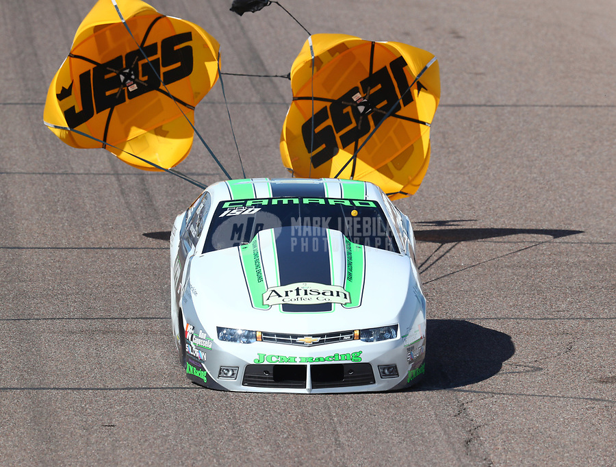 Feb 23, 2019; Chandler, AZ, USA; NHRA pro stock driver Kenny Delco during qualifying for the Arizona Nationals at Wild Horse Pass Motorsports Park. Mandatory Credit: Mark J. Rebilas-USA TODAY Sports
