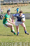 Annascaul Eamon Lenihan in possession of the ball closely watched by John Mitchel's Shane McMahon during the Intermediate Championship match at Annascaul GAA grounds on Saturday afternoon...