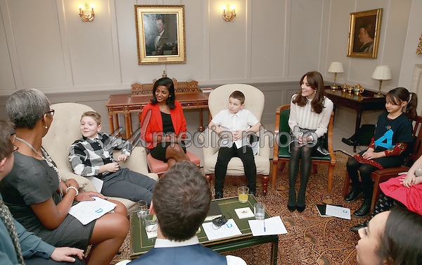 17 February 2016 - London, England - Kate Duchess of Cambridge Catherine Katherine Middleton chats with children from the 'Real Truth' video blog that features on the Huffington Post website (Solei Neil-Brown, Kiera Mullins, Haydan Pearce, Joshua Hogan) at Kensington Palace in London. The Duchess of Cambridge is supporting the launch of the Huffington Post UK's initiative 'Young Minds Matter' by guest editing the Huffington Post UK today from Kensington Palace. Photo Credit: Alpha Press/AdMedia