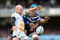 Tom Ellis of Bath Rugby looks to charge down a clearance kick from Joe Simpson of Wasps. Gallagher Premiership match, between Bath Rugby and Wasps on May 5, 2019 at the Recreation Ground in Bath, England. Photo by: Patrick Khachfe / Onside Images