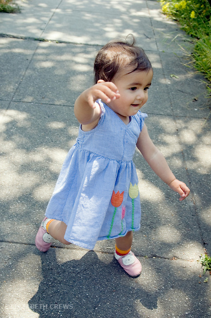 Berkeley CA Girl, 1/2 Nepalese, one-year-old, just starting to walk  MR