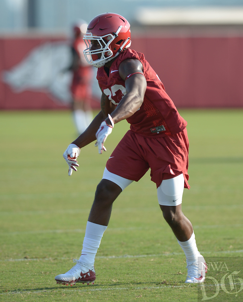 NWA Democrat-Gazette/ANDY SHUPE<br /> Arkansas linebacker Dee Walker participates in a drill Friday, Aug. 3, 2018, during practice at the university practice field on campus in Fayetteville. Visit nwadg.com/photos to see more photographs from the practice.