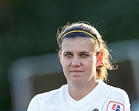 Portland Thorns FC forward Christine Sinclair (12). In a National Women's Soccer League (NWSL) match, Boston Breakers (blue) defeated Portland Thorns FC (white/black), 2-1, at Dilboy Stadium on August 7, 2013.