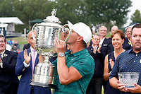 Brooks Koepka (USA) kisses the trophy after winning the 100th PGA Championship at Bellerive Country Club, St. Louis, Missouri, USA. 8/12/2018.<br /> Picture: Golffile.ie | Brian Spurlock<br /> <br /> All photo usage must carry mandatory copyright credit (&copy; Golffile | Brian Spurlock)