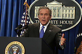 Washington, D.C. - January 26, 2006 -- United States President George W. Bush holds a news conference in the Brady Press Briefing Room of the White House, January 26, 2006.<br /> Credit: Martin H. Simon - Pool via CNP