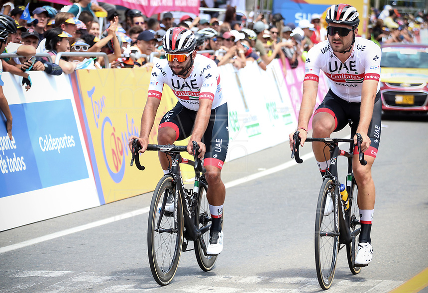 LA CEJA - COLOMBIA, 13-02-2019: Fernando Gaviria (COL), Oiverio Troia (ITA), UAE Team Emirates, durante la segunda etapa del Tour Colombia 2.1 2019 con un recorrido de 150.5 Km, que se corrió entre La Ceja Canadá - Carmen de Viboral - Rionegro - Canadá - La Ceja. / Fernando Gaviria (COL), Oiverio Troia (ITA), UAE Team Emiratesduring the second stage of 150.5 km of Tour Colombia 2.1 2019 that ran through La Ceja Canada - Carmen de Viboral - Rionegro - Canada - La Ceja.  Photo: VizzorImage / Fedeciclismo Prensa