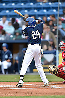 Asheville Tourists center fielder Wes Rogers (24) awaits a pitch during a game against the Greenville Drive on April 16, 2015 in Asheville, North Carolina. The Tourists defeated the Drive 5-4. (Tony Farlow/Four Seam Images)