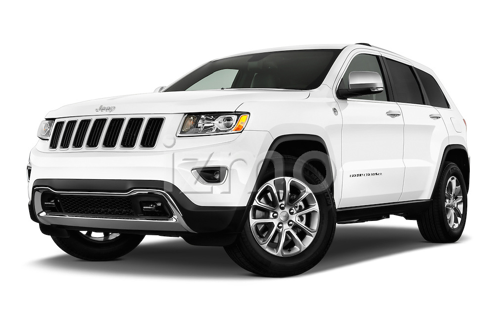 Stock pictures of low aggressive front three quarter view of a 2015 JEEP GRAND CHEROKEE Limited 5 Door SUV 4WD Low Aggressive