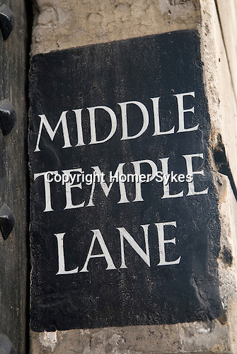 Middle Temple Lane, sign on wall by Gate House entrance from Fleet Street London. UK