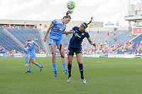 Bridgeview, IL, USA - Sunday, May 29, 2016: Chicago Red Stars defender Arin Gilliland (3) and Sky Blue FC forward Kim DeCesare (12) during a regular season National Women's Soccer League match between the Chicago Red Stars and Sky Blue FC at Toyota Park. The game ended in a 1-1 tie.
