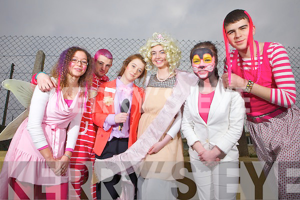 Students Lorna Laurent, Wayne Jones, Maebh Ferriter, Ciara Keane andWilliam Kissane pictured last Friday for Pink Day 2013 in St Joseph's Secondary School, Ballybunion.