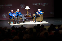 Celebration of MSU's admission into the prestigious Astronaut Scholarship Foundation (ASF).  Apollo astronauts Charlie Duke and Fred Haise along with MSU alum and Apollo engineer Jerry Bostick, visit campus and participate in a presentation in Lee Hall's Bettersworth Auditorium.<br />  (photo by Megan Bean / &copy; Mississippi State University)