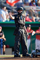 Home plate umpire Tyler Witte calls a strike during a game between the West Virginia Black Bears and the Batavia Muckdogs on July 3, 2018 at Dwyer Stadium in Batavia, New York.  Batavia defeated West Virginia 5-4.  (Mike Janes/Four Seam Images)
