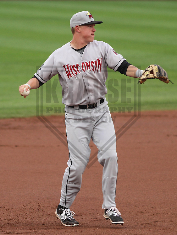 DAVENPORT - May 2015: Wisconsin Timber Rattlers third baseman Tucker Neuhaus (10) during a Midwest League game against the Quad Cities River Bandits on May 8th, 2015 at Modern Woodmen Park in Davenport, Iowa.  Quad Cities defeated Wisconsin 11-6.  (Brad Krause/Krause Sports Photography)