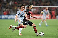 1st January 2020; Bankwest Stadium, Parramatta, New South Wales, Australia; Australian A League football, Western Sydney Wanderers versus Brisbane Roar; Daniel Georgievski of Western Sydney Wanderers under pressure from Mirza Muratovic of Brisbane Roar - Editorial Use
