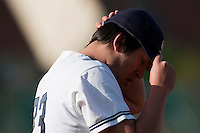 10 october 2009: Steven Huff of Savigny is seen to the dugout during game 3 of the 2009 French Elite Finals won 4-2 by Savigny over Rouen, at Stade Jean Moulin stadium in Savigny sur Orge, near Paris, France.