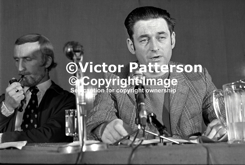 Seamus Costello, leader, IRSP, aka Irish Republican Socialist Party, whose paramilitary wing was the INLA aka Irish National Liberation Army, 197504000331a.<br /> <br /> Copyright Image from Victor Patterson, 54 Dorchester Park, <br /> Belfast, UK, BT9 6RJ<br /> <br /> t1: +44 28 9066 1296 (from Rep of Ireland 048 9066 1296)<br /> t2: +44 28 9002 2446 (from Rep of Ireland 048 9002 2446)<br /> m: +44 7802 353836<br /> <br /> e1: victorpatterson@me.com<br /> e2: victorpatterson@gmail.com<br /> www.victorpatterson.com<br /> <br /> Please see my Terms and Conditions of Use at www.victorpatterson.com. It is IMPORTANT that you familiarise yourself with them.<br /> <br /> Images used on the Internet must be visibly watermarked i.e. &copy; Victor Patterson<br /> within the body of the image and copyright metadata must not be deleted. Images <br /> used on the Internet have a size restriction of 4kbs and will be chargeable at current<br />  NUJ rates unless agreed otherwise.<br /> <br /> This image is only available for the use of the download recipient i.e. television station, newspaper, magazine, book publisher, etc, and must not be passed on to any third <br /> party. It is also downloaded on condition that each and every usage is notified within 7 days to victorpatterson@me.com<br /> <br /> The right of Victor Patterson to be identified as the author is asserted in accordance with The Copyright Designs And Patents Act (1988). All moral rights are asserted.